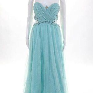 City Lights Mint jewel Rhinestone Sweetheart Gown